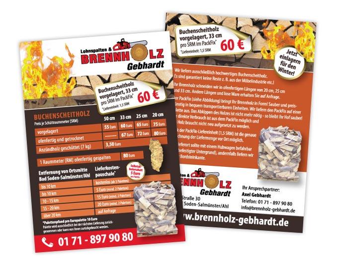 Gestaltung Flyer Brennholz