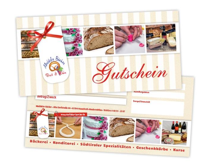 Gestaltung Gutschein Bäcker